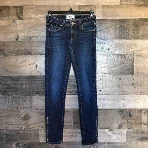 Paige Denim Dark Wash Zipper Ankle Skinny Jeans